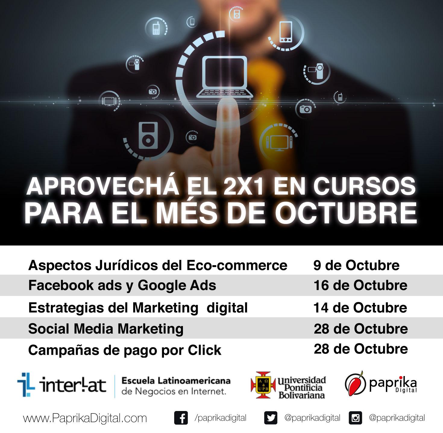 Cursos de mercadeo digital y redes sociales por expertos y líderes a nivel mundial.