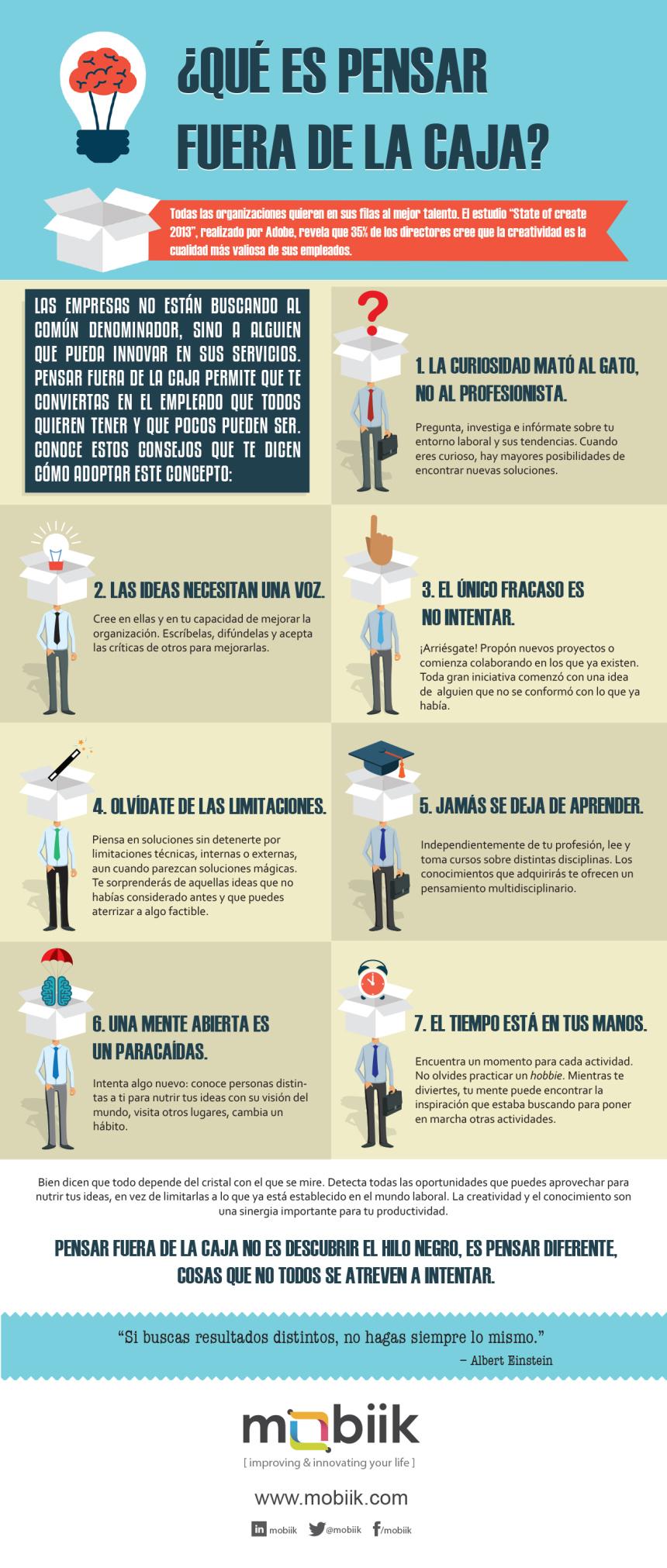 Te dejamos una interesante infografía con 7 pasos para aprender a pensar fuera de la caja.